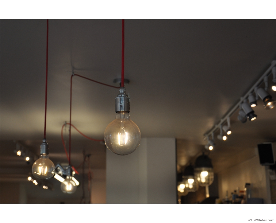 Meanwhile, these lights hang over the counter.
