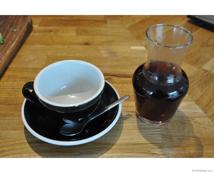 My filter from my visit in June, beautifully served in a carafe with a cup on the side.