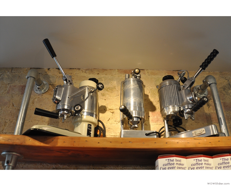 Sadly the old lever espresso machines at the top aren't for sale...