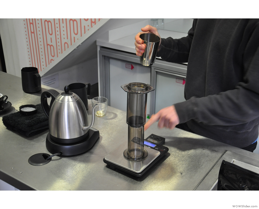 The Aeropress is placed on the scales (inverted) and the scales zeroed.