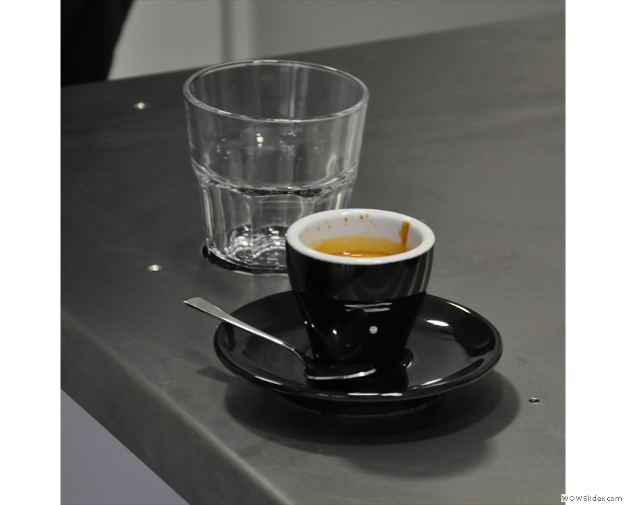 I had more success photographing this one, classic black cup included!