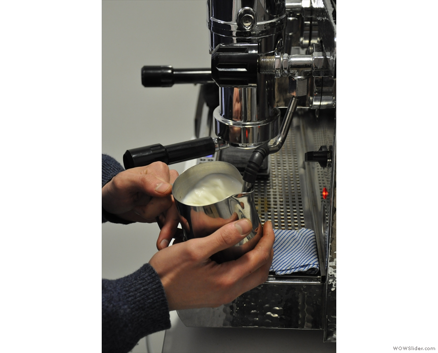 The machine can (unsurprisingly) also steam milk.