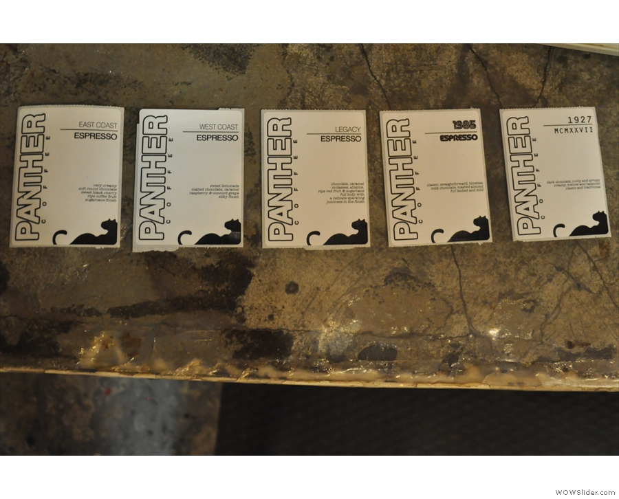 Turning to the end result: Panther Coffee's five espresso blends.