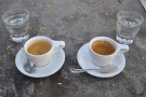 While I was there, I had an espresso tasting flight: one each of the East & West Coast blends.
