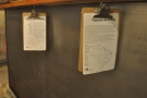 Clipboards hang under the counter with more details for the single-origins.