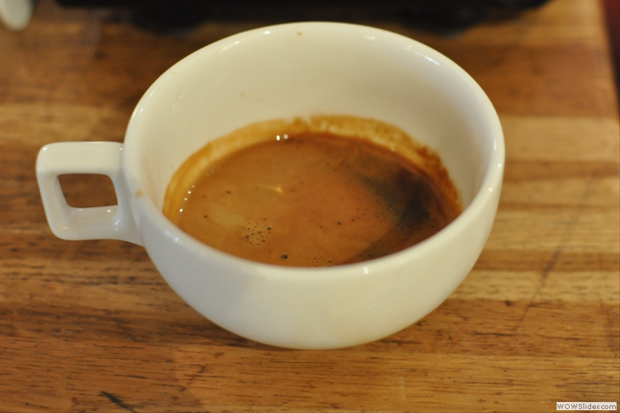 The resulting espresso before the addition of the milk.