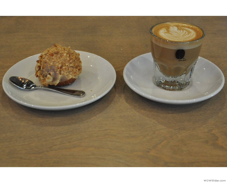 I went for a cortado, made with the Alchemy Blend, and a doughnut.