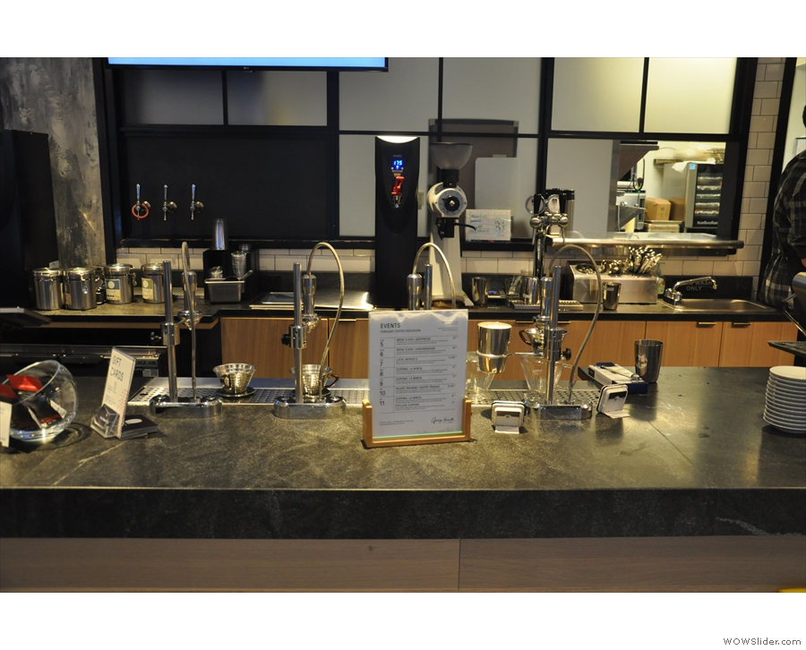 Next, in the centre of the counter, are four Modbar pour-over modules...