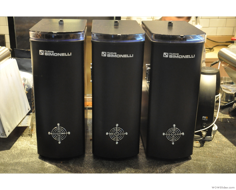 Between them, they have three nouva simonelli Mythos 1 grinders (house, guest & decaf).