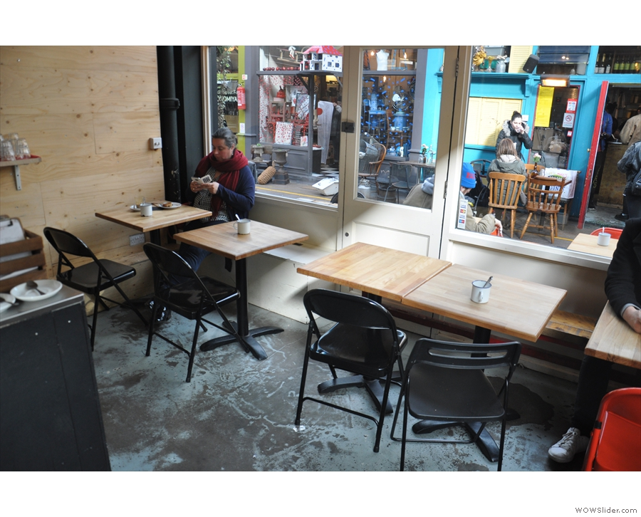 ... with seating all the way around the outside. There are tables along the 2nd Avenue side.