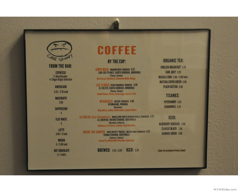 spot coffee menu