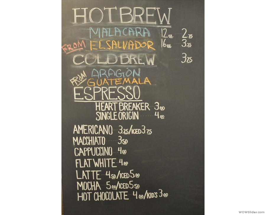 These are the bulk-brew ('hot brew'), cold-brew and espresso choices...