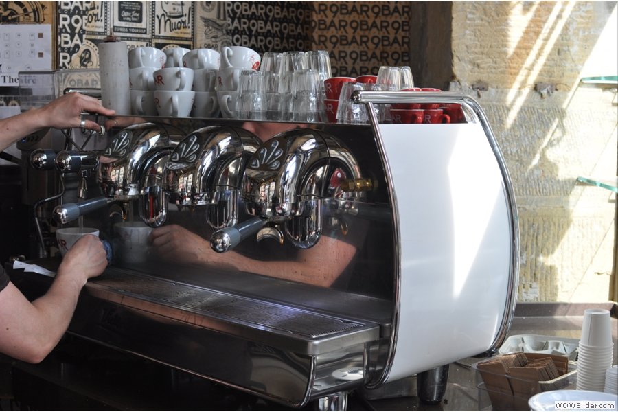 Look at that espresso machine by the way. It's a Victoria Arduino Adonis. You don't see many of those over here... Lovely machine!