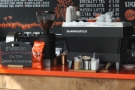 The choices, one single-origin on espresso, another on filter, are chalked up on the counter.