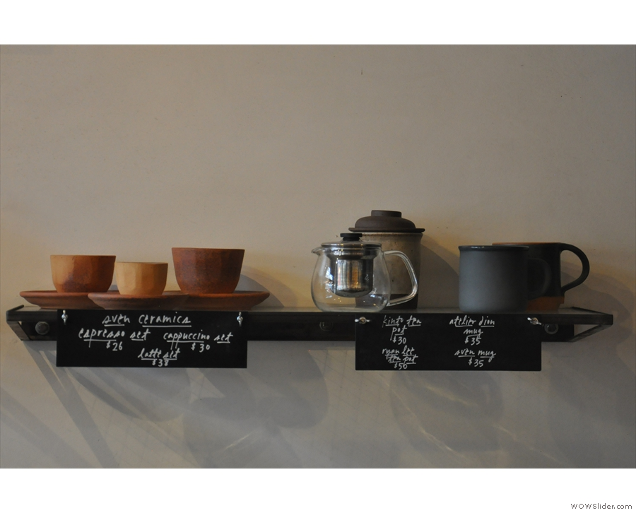 With its beautiful cups, Four Barrel's retail shelves also double as decoration.