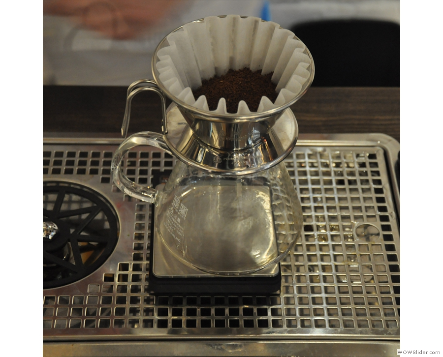 Coffee number two is in the next Kalita Wave filter. Handmade coffee in handmade filters...