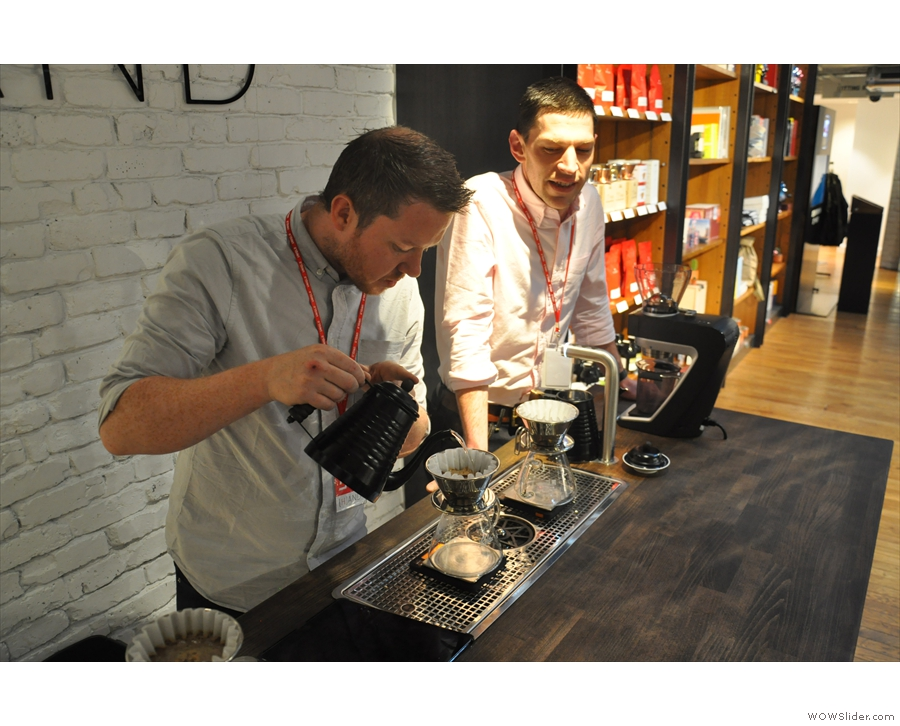 And here's Pete, with Dale looking on, with the third of my coffees.