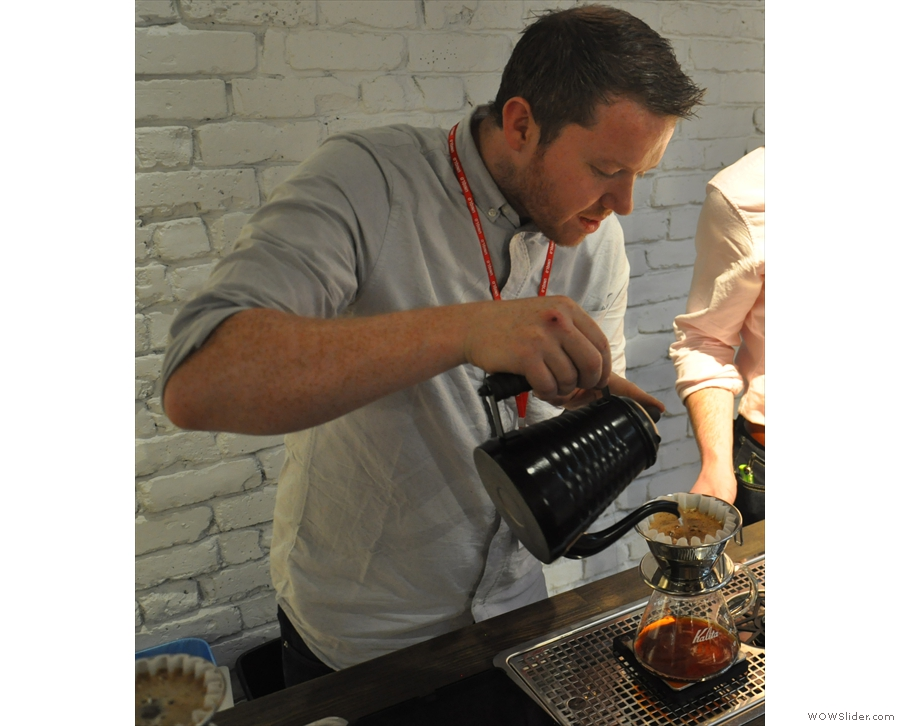 ... so Pete has no problem making three coffees at a time. Here he is on the third one.
