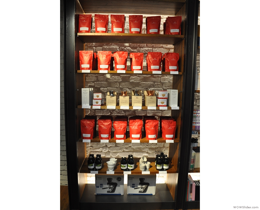 The retail shelves are stacked with coffee from Has Bean, plus a few other bits and pieces...