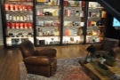 As well as the coffee bar, there's a set of retail shelves. If you want to sit down, there are...
