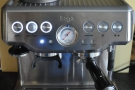 Operating the Barista Express is a piece of cake: just switch it on with the button on the left.