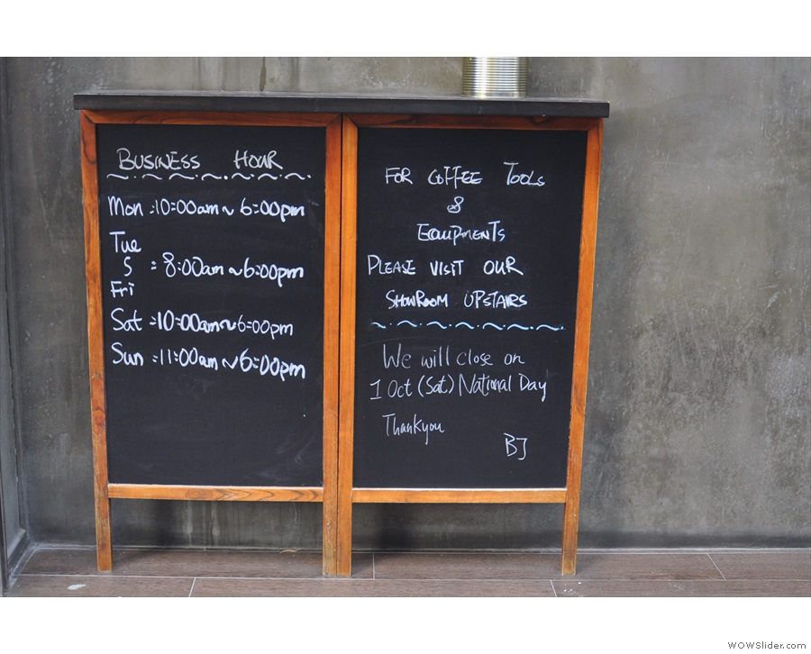 Barista Jam goes for the informative rather than the humourous A-board.