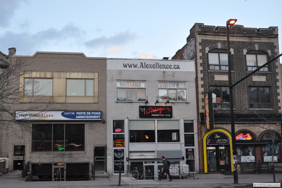 Resonance is not necessarily in the most salubrious part of town. From left to right: Resonance, a massage parlour and an 'exotic dancers' bar!