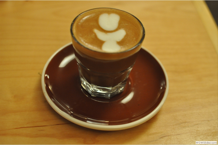 And my vegan decaf cortado in a very fetching glass