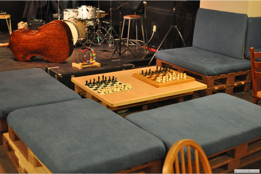 Right at the back, just in front of the stage, are these padded benches where you can play chess if the fancy takes you.
