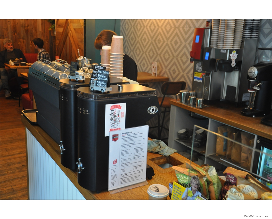 The coffee-end of the counter is towards the back, with bulk-brew filter on the back wall.