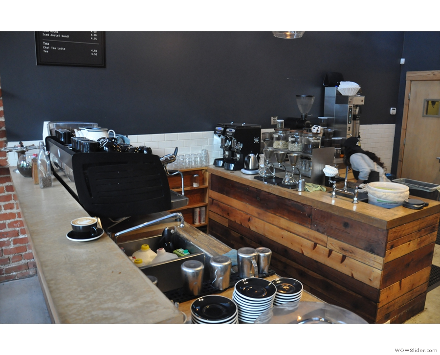 Talking of the counter; here it is, espresso machine to the fore, tea/filter coffee to the rear.