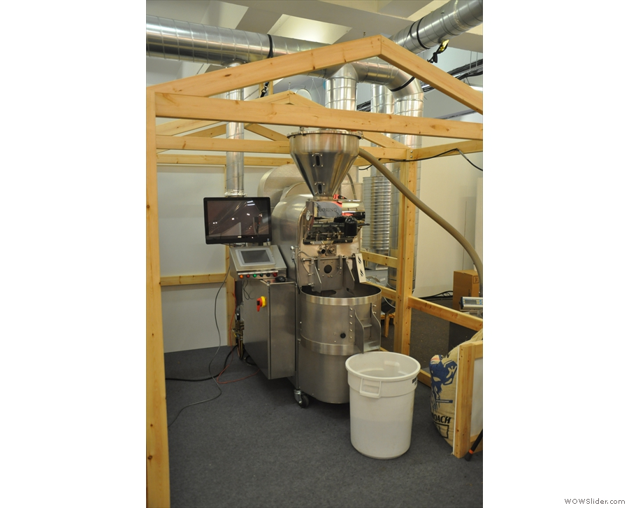It does have some quieter areas, such as this, the roasting & cupping area.