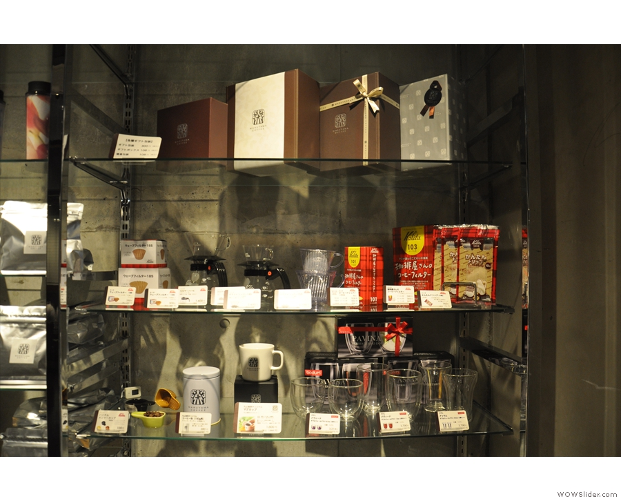 There's lots of things for sale on the retail shelves, including coffee making gear.