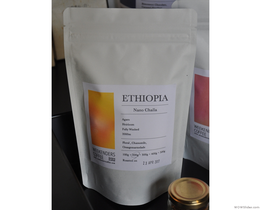 One of the bags of single-origin coffee, an Ethiopean Nano Challa.