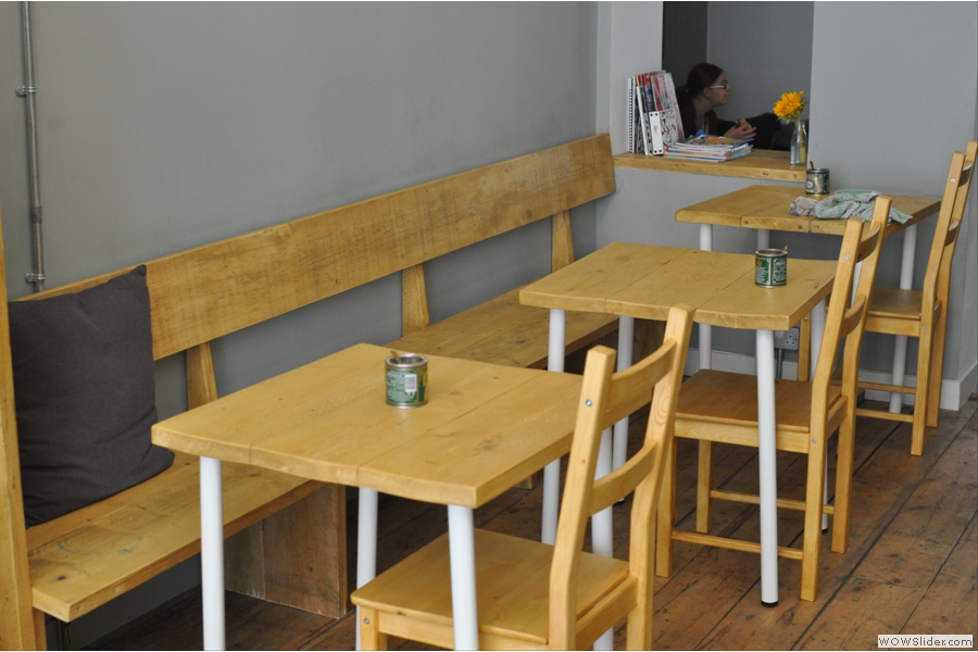 More nice tables, this time opposite the counter.