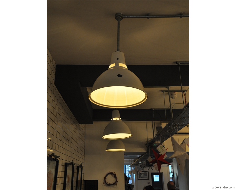 Baltzersens is blessed with many lights such as these hanging over the tables on the left...