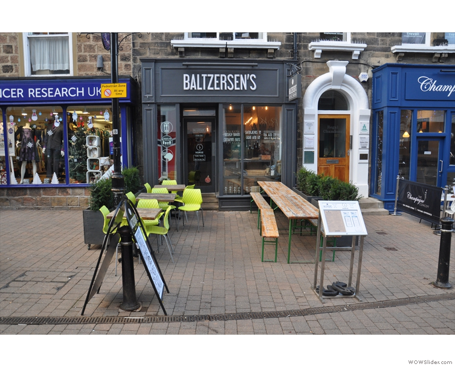 Baltzersens on Harrogate's Oxford Street, looking very small and compact.