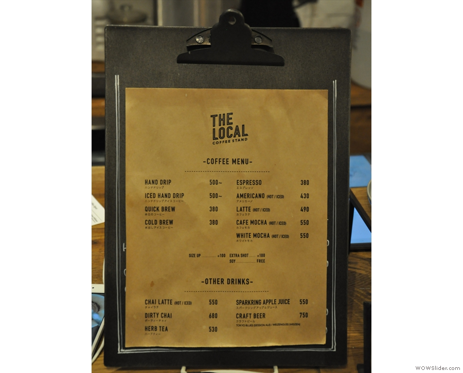 This menu is slightly more expansive than the one on the wall.