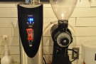 ... while on the right is the EK-43 and boiler for the pour-over...