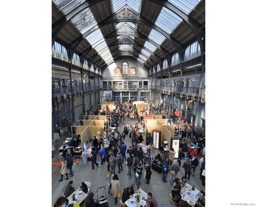 Another view from the far end, showing the soaring heights of the Briggait's glass roof.