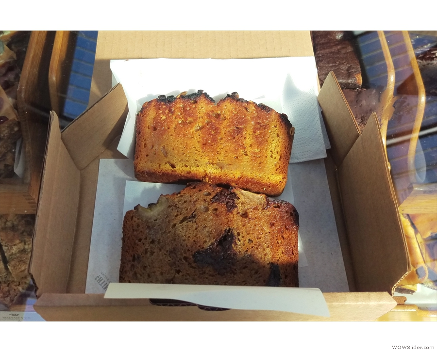 I started my day with slices of the Smashing Pumpkin Seed & the Banana + Chocolate bread.