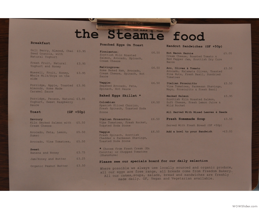 The menu in detail.