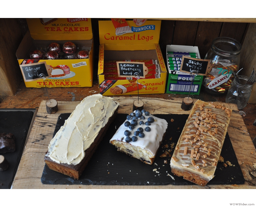 There's all sorts, such as these loaves and, behind them, Tunnock's tea cakes & caramel logs!