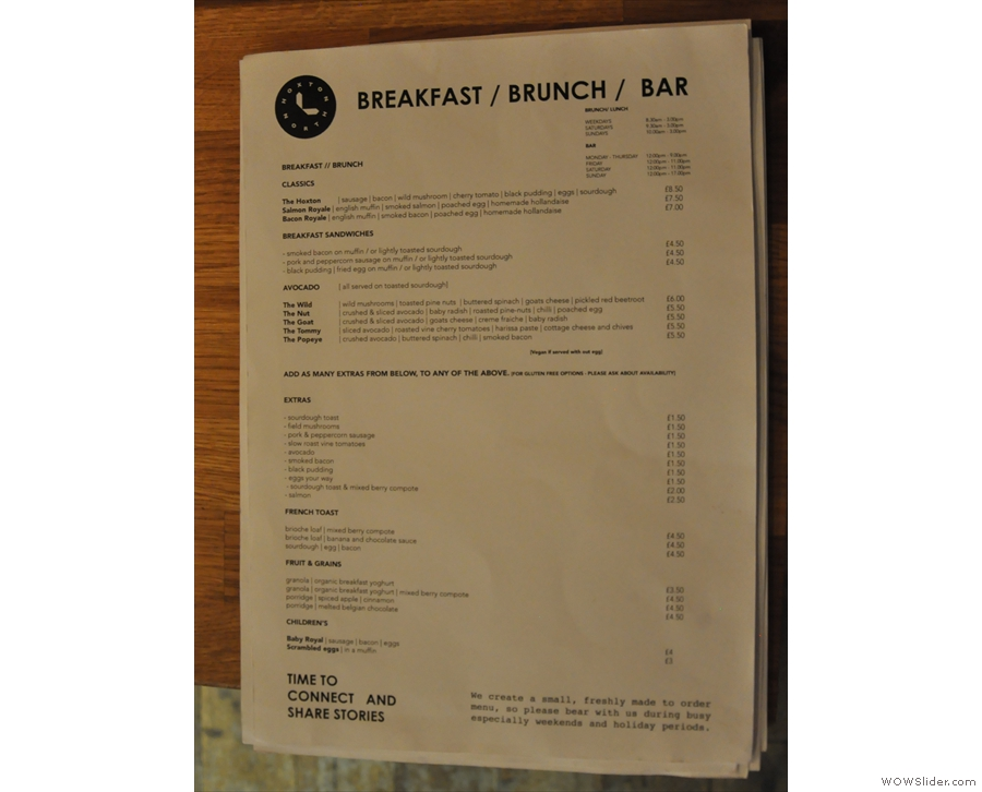 ... while this is the breakfast and brunch menu. Sadly I was just too late for brunch.