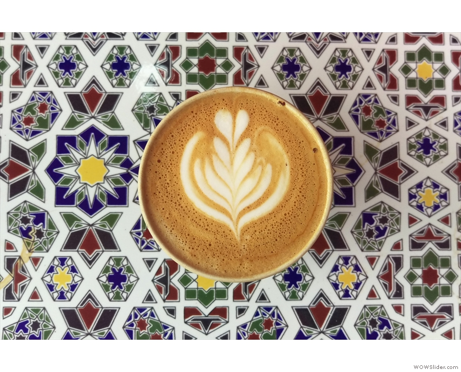 Check out that latte art. And the amazing tile!