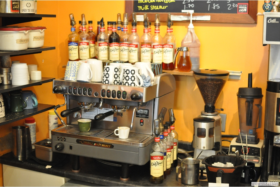 The espresso machine, tucked away at the back.