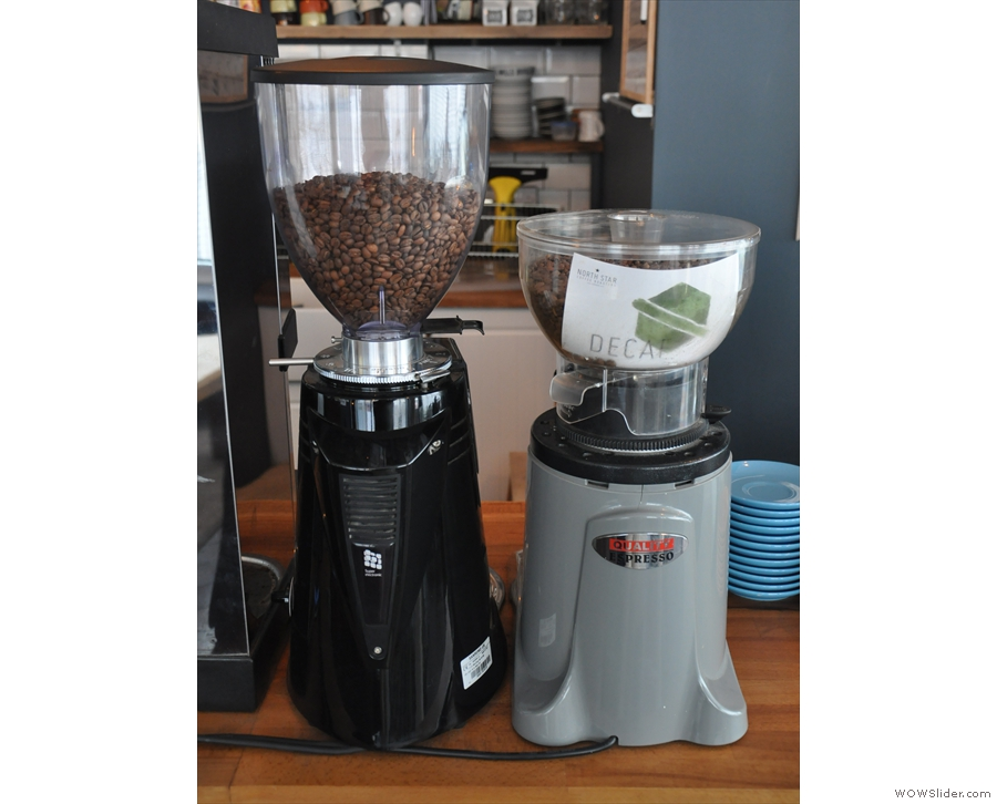 ... with a regularly-changing option on the main grinder, plus decaf on the second grinder.