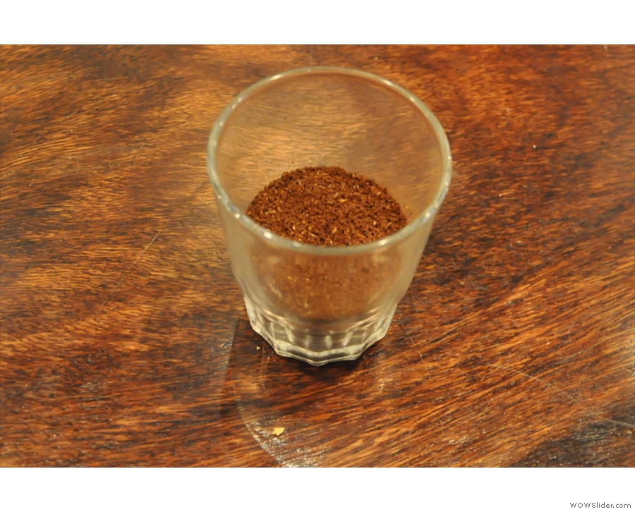 The ground coffee. I didn't ask the grind setting: slightly coarser than Aeropress, perhaps?