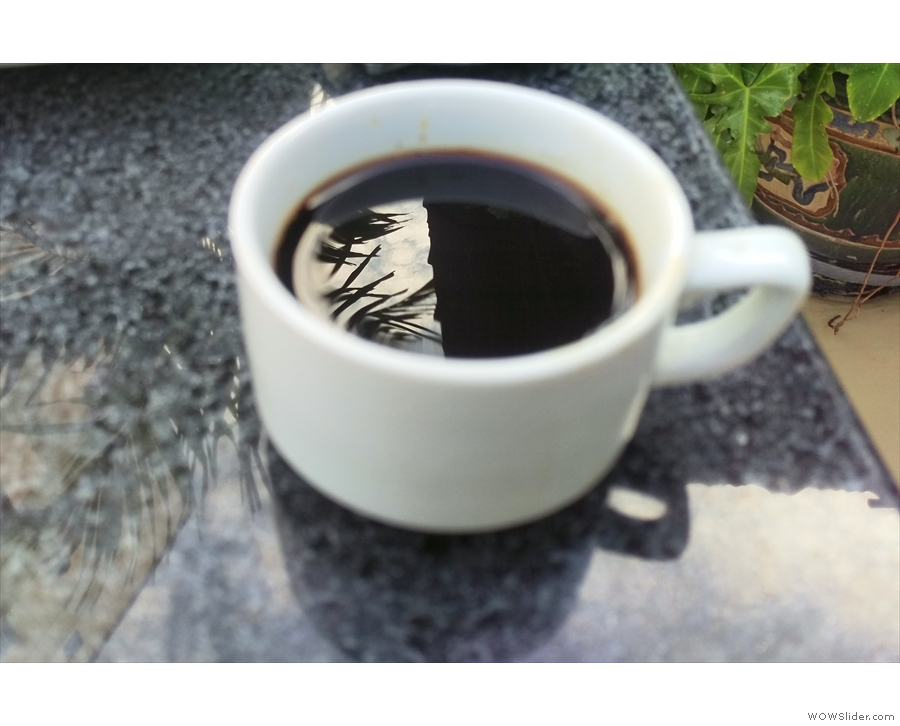 My resulting coffee. Nice reflections.