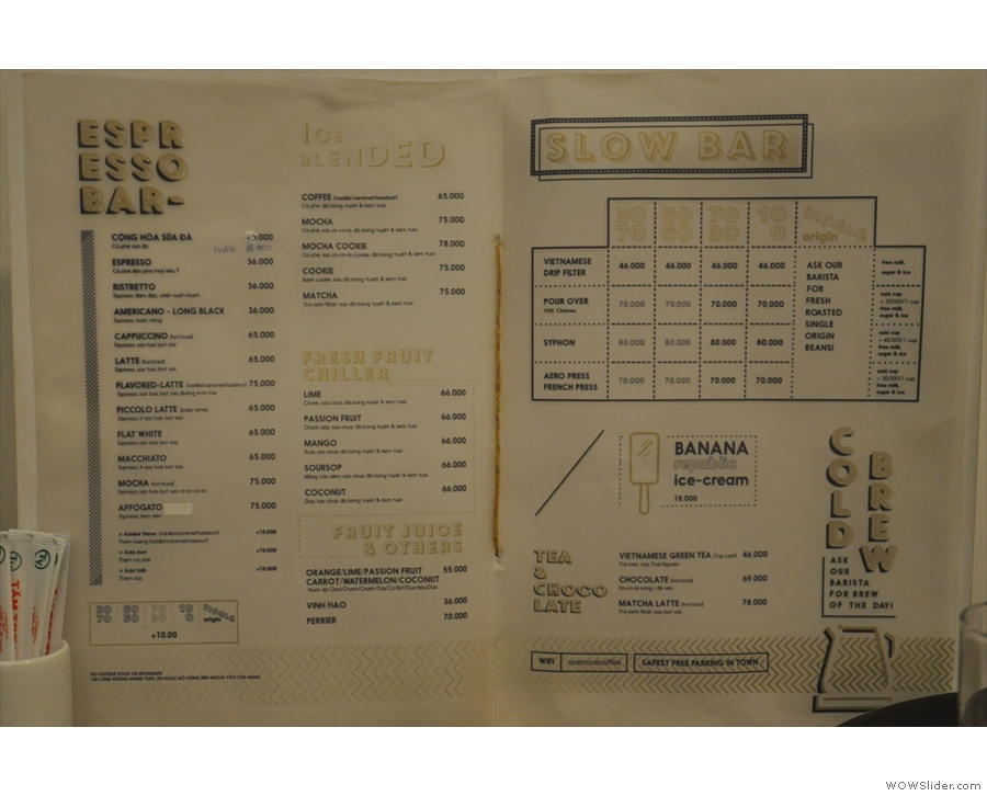 There's also a paper version of the menu if you are upstairs.